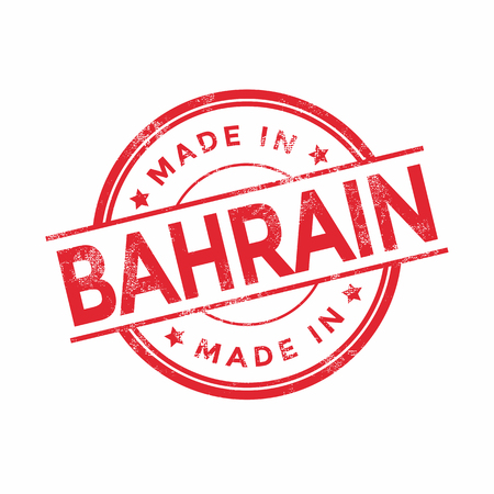 bahrain: Made in Bahrain red vector graphic. Round rubber stamp isolated on white background. With vintage texture.