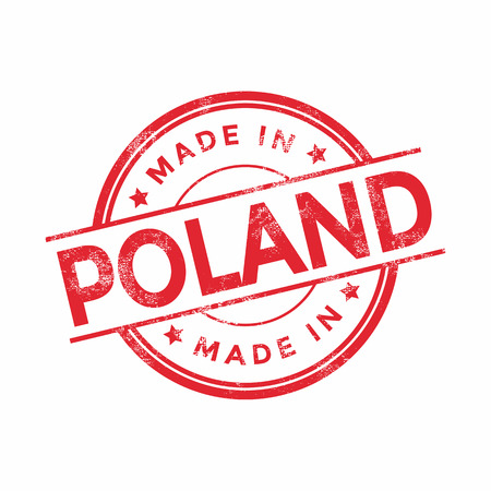 poland: Made in Poland red vector graphic. Round rubber stamp isolated on white background. With vintage texture.