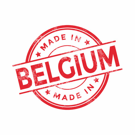 vintage texture: Made in Belgium red vector graphic. Round rubber stamp isolated on white background. With vintage texture. Illustration
