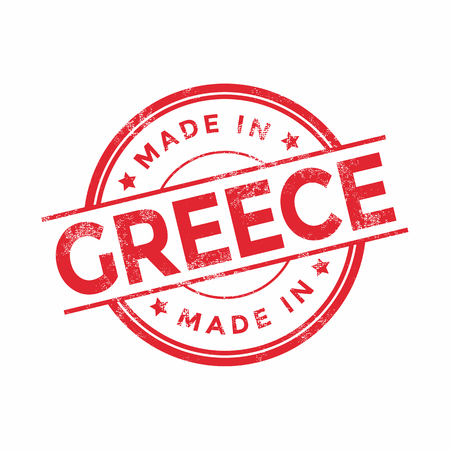 Made in Greece red vector graphic. Round rubber stamp isolated on white background. With vintage texture.