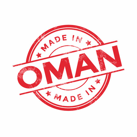 graphic texture: Made in Oman red vector graphic. Round rubber stamp isolated on white background. With vintage texture. Illustration