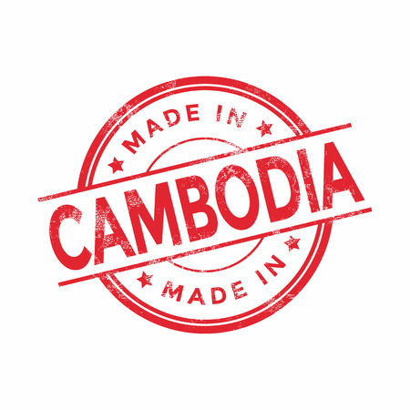 vintage texture: Made in Cambodia red vector graphic. Round rubber stamp isolated on white background. With vintage texture.