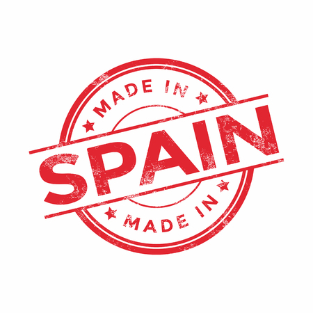 made in spain: Made in Spain red vector graphic. Round rubber stamp isolated on white background. With vintage texture.