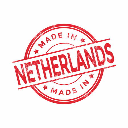 made in netherlands: Made in Netherlands red vector graphic. Round rubber stamp isolated on white background. With vintage texture. Illustration