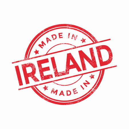 Made in Ireland red vector graphic. Round rubber stamp isolated on white background. With vintage texture.