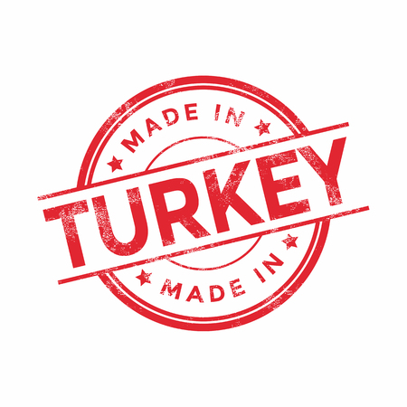 graphic texture: Made in Turkey red vector graphic. Round rubber stamp isolated on white background. With vintage texture. Illustration