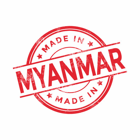 vintage texture: Made in Myanmar red vector graphic. Round rubber stamp isolated on white background. With vintage texture.