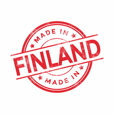 made in finland: Made in Finland red vector graphic. Round rubber stamp isolated on white background. With vintage texture.