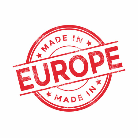 europe vintage: Made in Europe red vector graphic. Round rubber stamp isolated on white background. With vintage texture.