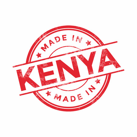 graphic texture: Made in Kenya red vector graphic. Round rubber stamp isolated on white background. With vintage texture.
