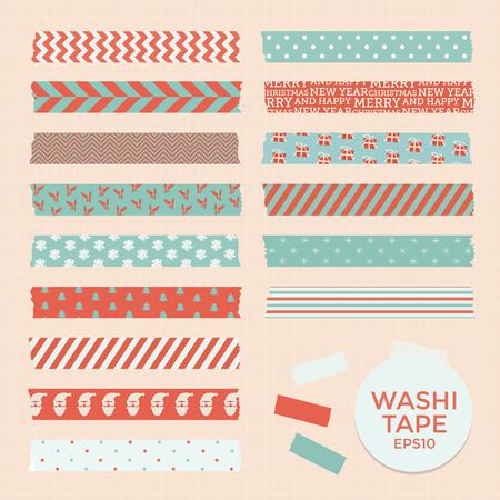 moños navideños: Conjunto de cintas de navidad del vintage washi, cintas, elementos del vector, patrones de diseño lindo Vectores