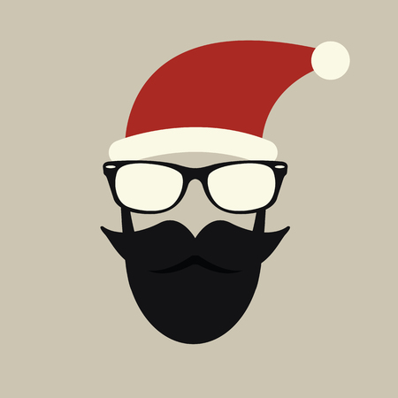 winter fashion: Hipster-santa silhouette with santa hat, aviator sunglasses and beard