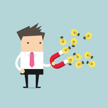 Businessman with horseshoe magnet collecting light bulb Illustration
