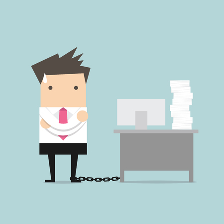 computer work: Businessman chained to the desk vector