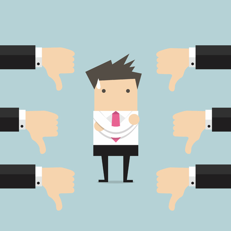 Businessman and many hands with thumbs down. Dislikes and negative feedback concept Illustration