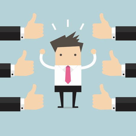 acknowledge: Businessman and many hands with thumbs up. Likes and positive feedback concept.