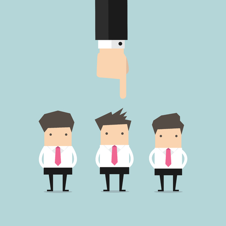 find staff: Recruitment concept hand pointing to businessman Illustration