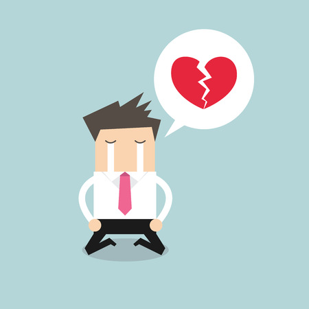 and depressed: Businessman crying broken heart vector