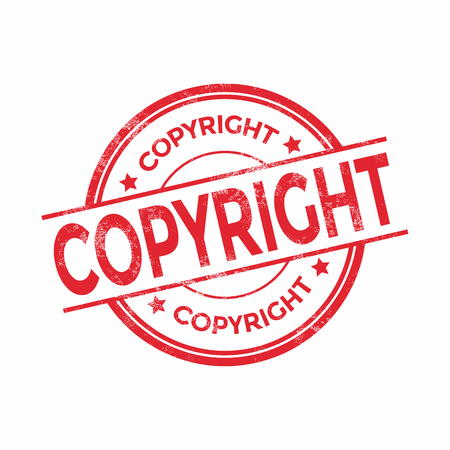 copyright symbol: Copyright red stamp text on white