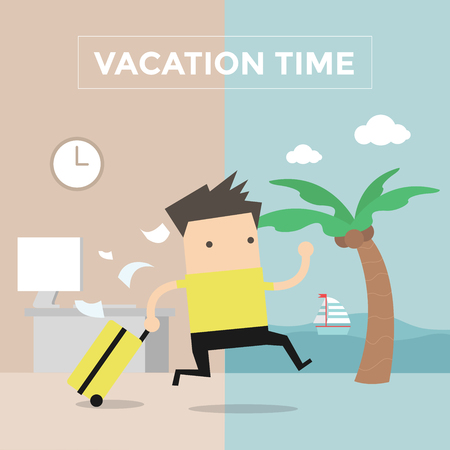 prisoner of the money: Businessman go to travel on vacation time Illustration
