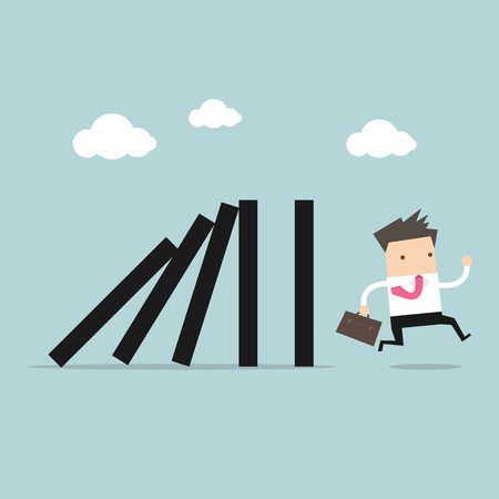 run away: Businessman run away domino effect vector