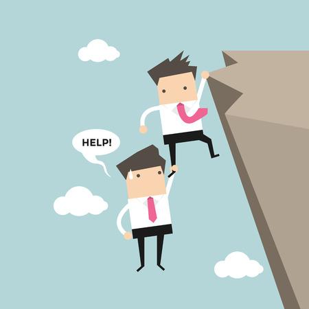 cliffs: Businessman help friend on the cliff vector Illustration
