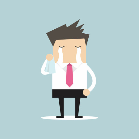 Businessman crying vector Illustration
