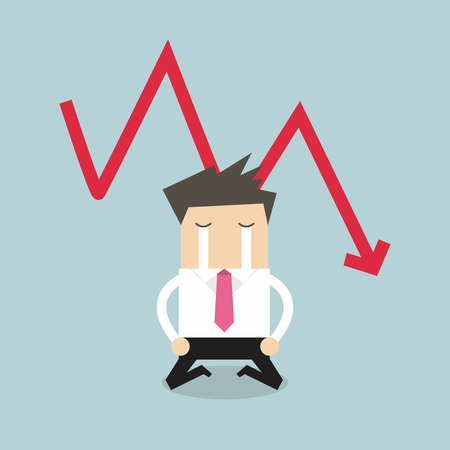 saleman: Sad businessman crying with falling down red arrow graph financial crisis