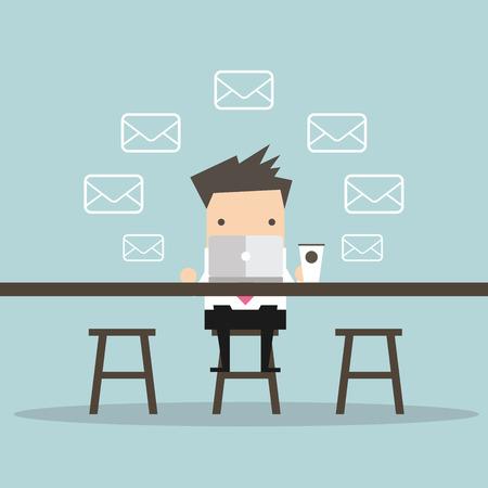 El hombre de negocios mensajes consultar el correo electrónico en la cafetería
