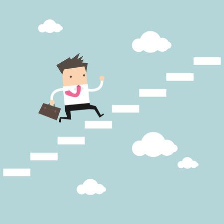 cielo: Empresario pisar una escalera al vector éxito Vectores