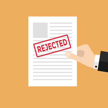 rejected: Hand holds rejected paper vector Illustration