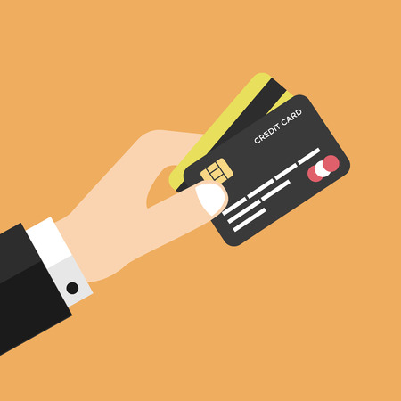 holding credit card: Businessman hand holding credit card vector