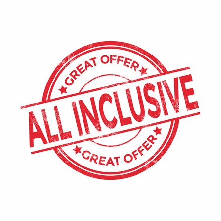 inclusive: All inclusive grunge rubber stamps, vector illustration