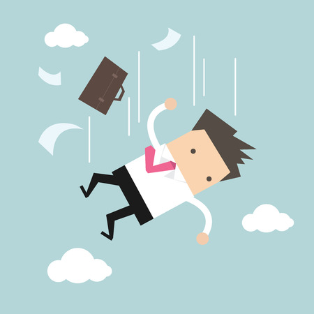 perish: Businessman is falling from sky