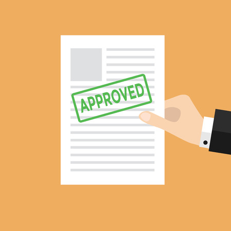 Hand holds approved paper vector Illustration