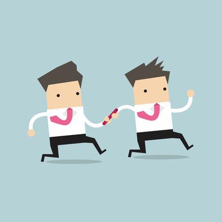 carrera de relevos: El hombre de negocios que pasa la batuta a la otra en el vector carrera de relevos