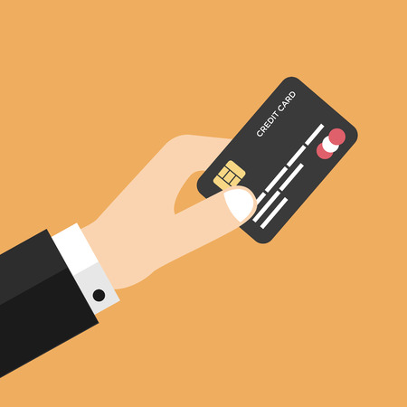 Businessman hand holding credit card vector