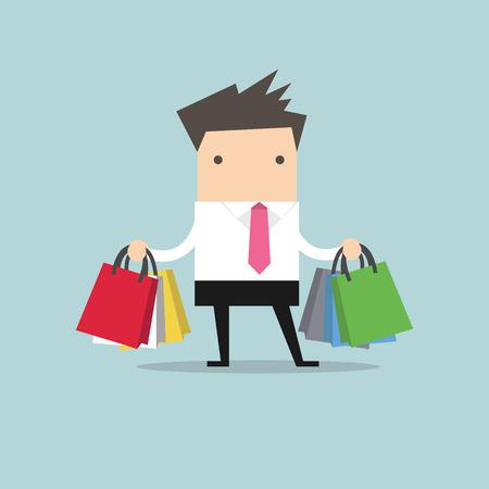 bag cartoon: Businessman with shopping bags.