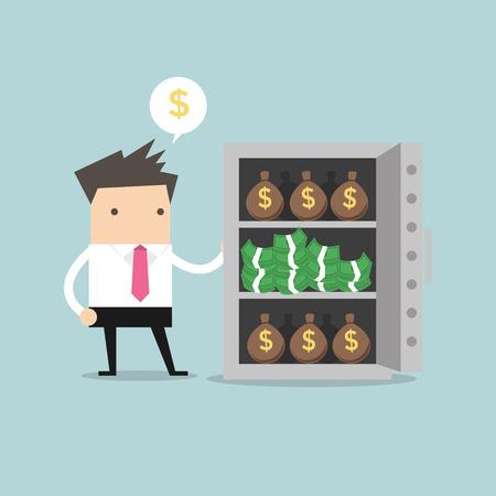 mucho dinero: Hombre de negocios con una gran cantidad de bolsas de dinero y un montón de dólares en seguros Vectores
