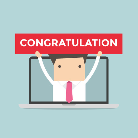 notebook computer: Businessman holding Congratulation sign in computer notebook Illustration