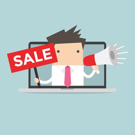online advertising: Businessman online advertising vector Illustration