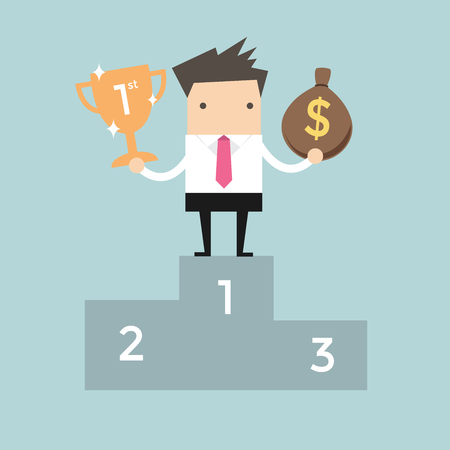 standing businessman: Businessman standing on the winning podium holding trophy and a bag of money Illustration