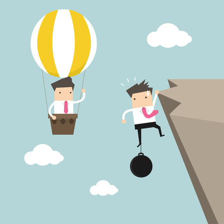 burden: Businessman in hot air balloon fly pass businessman hold on the cliff with burden vector