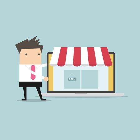 promote: Businessman promote online shop in labtop vector