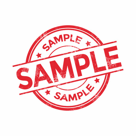Rubber stamp with word sample inside, vector illustration
