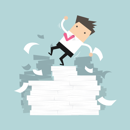perish: Businessman falling of paper mountain