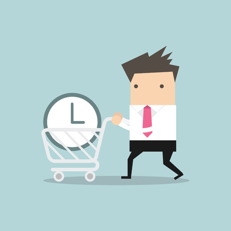 buy time: Businessman buy time concept vector