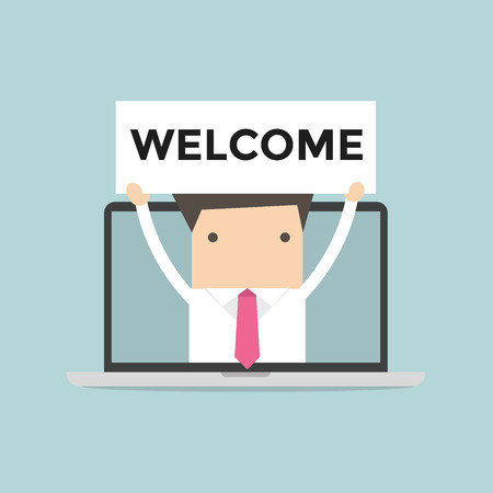 notebook computer: Businessman holding Welcome sign in computer notebook