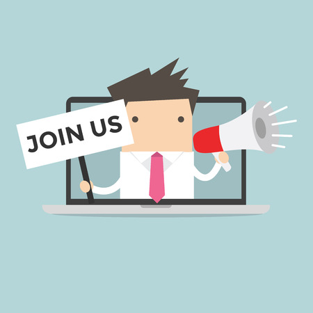join the team: Businessman holding join us sign and megaphone in computer notebook Illustration