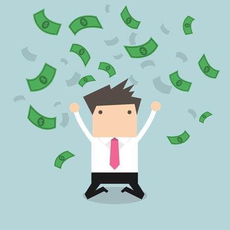 Happy businessman throwing money up. vector